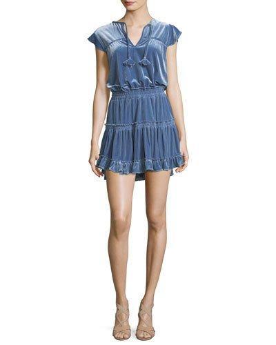 Misa Matias Tiered Velvet Short-sleeve Mini Dress In Blue