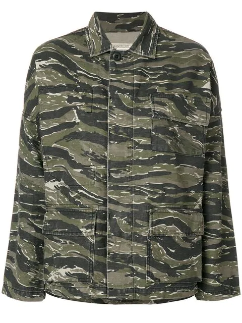 Current Elliott 'the Fatigue' Slogan Embroidered Camouflage Print Jacket In Green