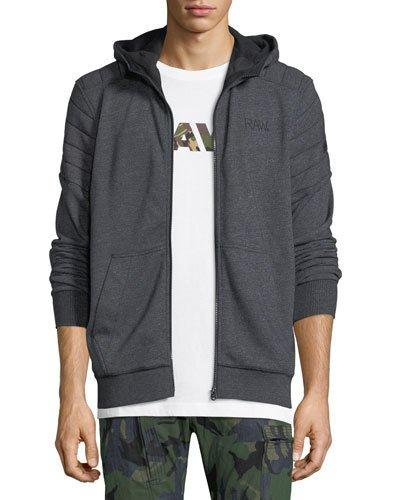 G-star Odiron Suzaki Quilted Zip-front Hoodie In Charcoal