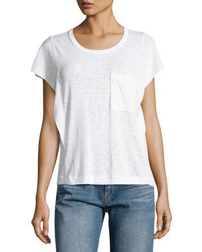 Splendid Crewneck Short-sleeve Heavy Slub Jersey Tee In White