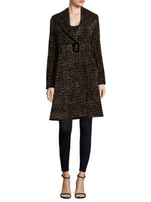 Nanette Lepore Carnaby Animal-print Shawl-collar Belted Coat In Leopard