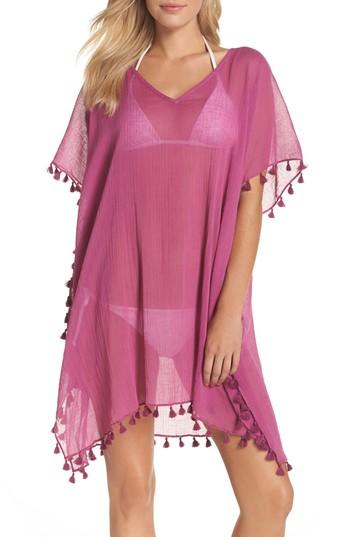 Seafolly 'amnesia' Cotton Gauze Cover-up Caftan In Berry