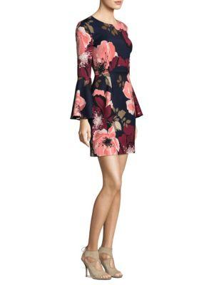 Trina Turk Floral-print Bell-sleeve Faille Day Dress In Multi