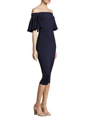 Trina Turk Off-the-shoulder Ruffle Sleeve Sheath Cocktail Dress In Indigo