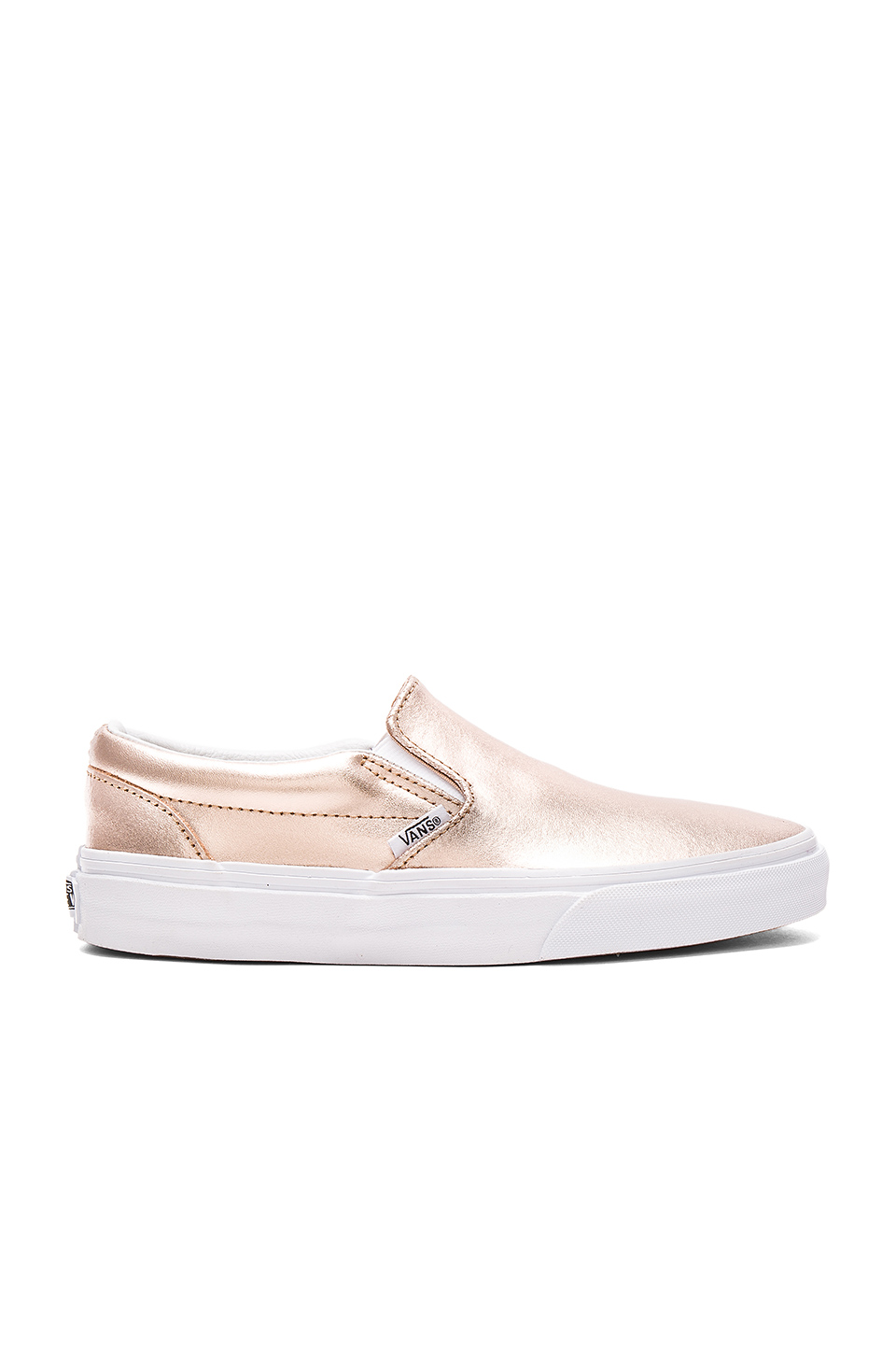 79aa06416f Vans Metallic Leather Classic Slip-On In Rose Gold