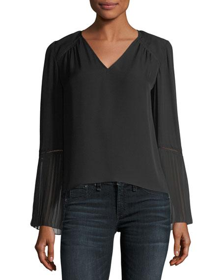 Ramy Brook Sonia V-neck Long-sleeve Blouse In Black