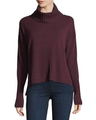 Derek Lam 10 Crosby Long-sleeve Cashmere Turtleneck Sweater W/ Rib Detail In Dark Red