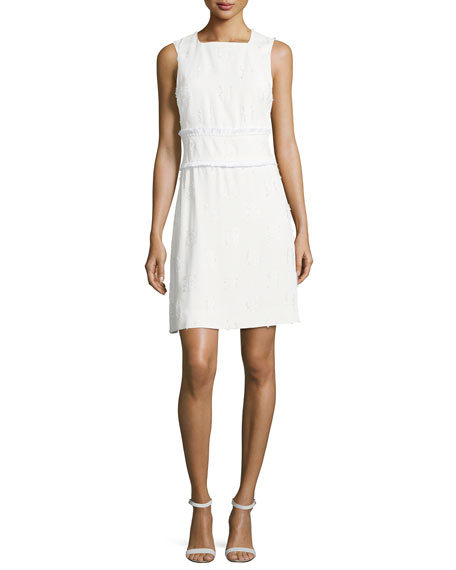 Derek Lam 10 Crosby Sleeveless High-neck Sheath Dress W/ Fringed Trim In White