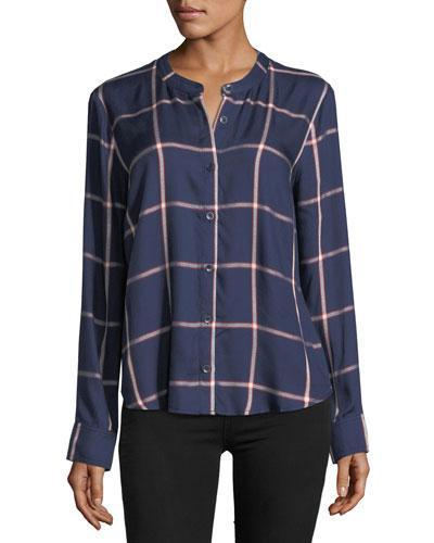 Splendid Reily Plaid Button-up Shirt In Blue