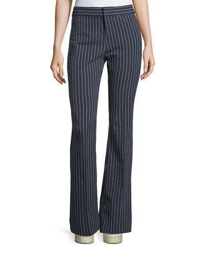 Derek Lam 10 Crosby Mid-rise Striped Flare Cotton-stretch Trouser In Dark Blue