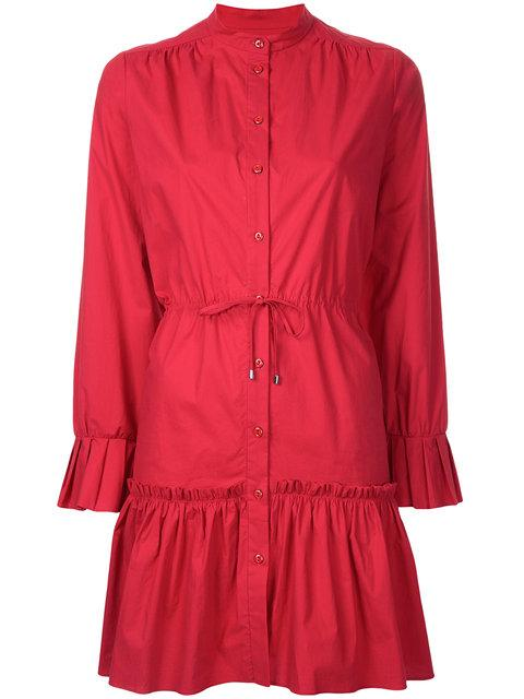 Saloni Gathered Shirt Dress In Red