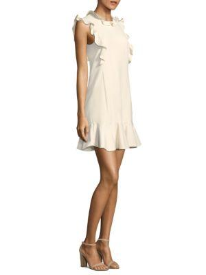 Rebecca Taylor Sleeveless Ruffle Suiting Dress In Cream