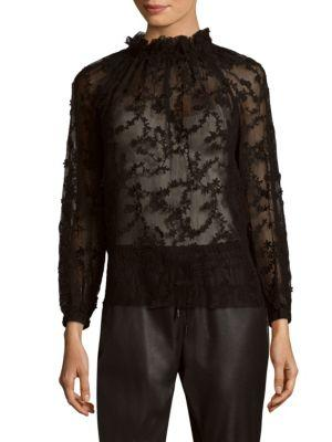 Rebecca Taylor Long-sleeve Ellie Embroidery Top In Black