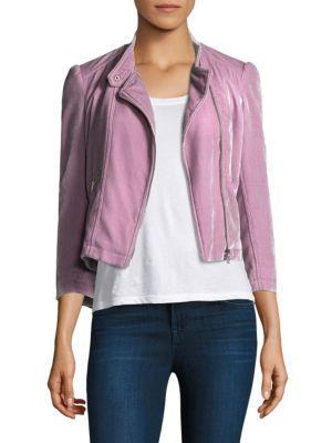Rebecca Taylor Velvet Moto Jacket In Dusty Iris