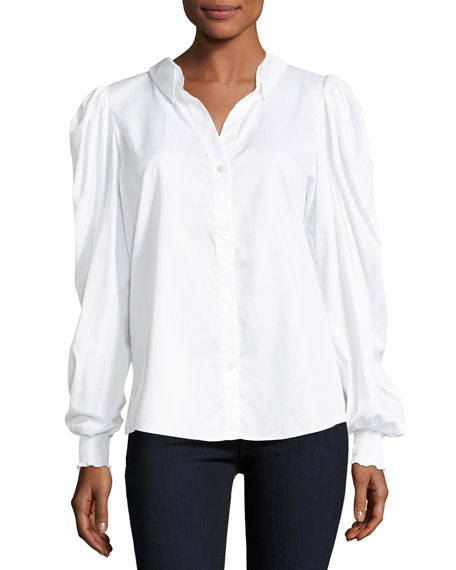 Petersyn Marcus Pouf-sleeve Button-front Poplin Top In White