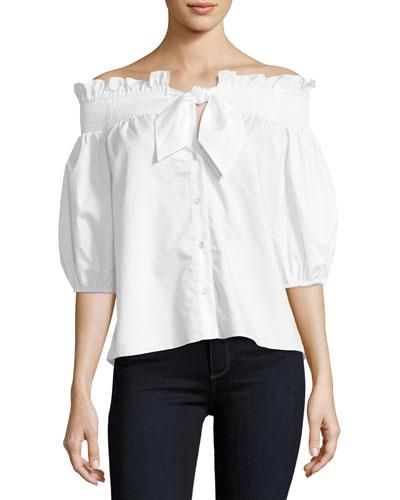 Parker Spade Off-the-shoulder Button-front Poplin Shirt In White