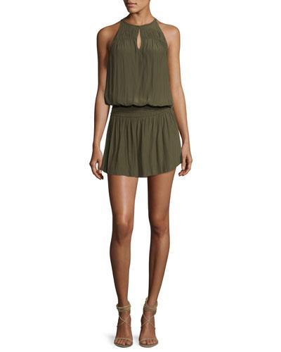 Ramy Brook Hilton High-neck Sleeveless Blouson Dress In Green
