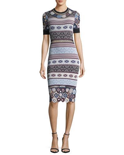 Parker Carol Crochet Knit Fitted Dress W/ Rings In Multi
