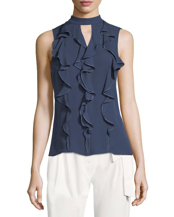 Parker Odyssey Sleeveless Ruffled Silk Blouse In Blue