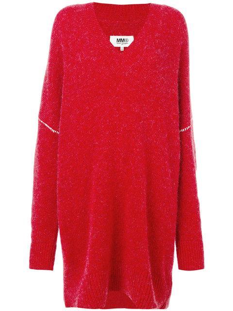 Mm6 Maison Margiela Oversized V-neck Sweater Dress In Red