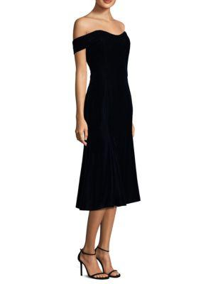 Shoshanna Balmwell Off-the-shoulder Velvet Cocktail Dress In Navy