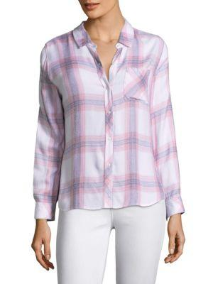 Rails Hunter Button-front Plaid Shirt In Pink/white
