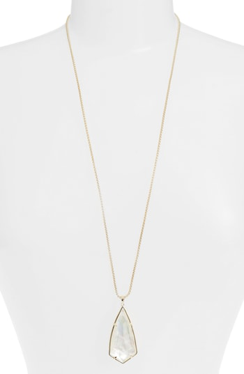 Kendra Scott 'carole' Long Semiprecious Stone Pendant Necklace In Ivory Mop/ Gold