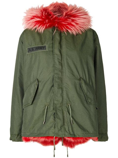 As65 Contrast Lining Coat In Green