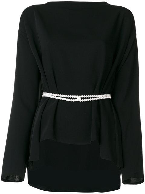 Mm6 Maison Margiela Pearl Detail Belted Top - Black