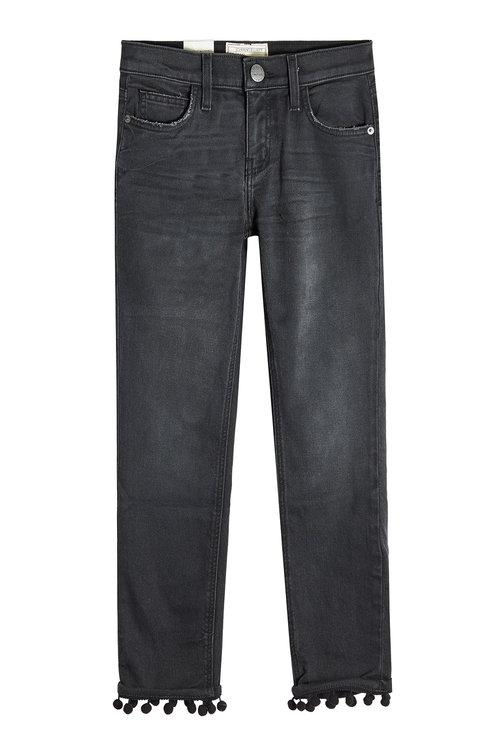 Current Elliott Cropped Straight Jeans With Pom-pom Trim In Black