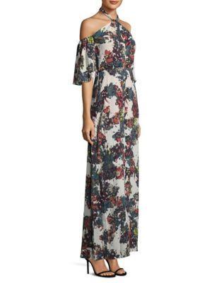 Bcbgmaxazria Floral Halter Gown In Whisper Combo