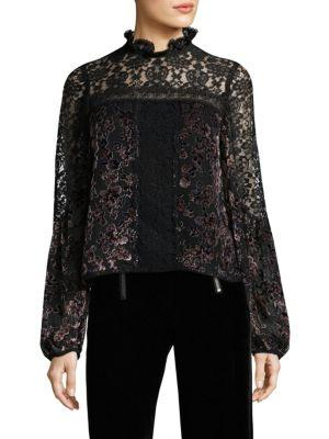 Nanette Lepore Obsession High-neck Long-sleeve Lace Top In Black Multi