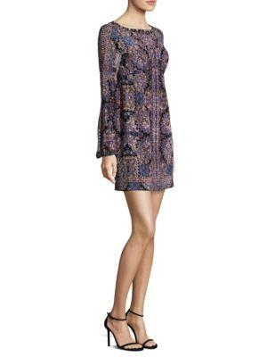 Nanette Lepore Kaleidoscope-print Bateau-neck Long-sleeve Cocktail Dress In Black Multi