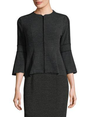 Nanette Lepore Londontown Zip-front Knit Jacket In Charcoal-black