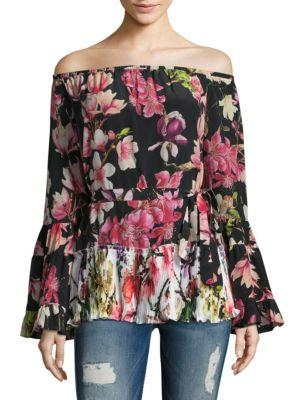 Rococo Sand Floral Silk Bell-sleeve Top In Black