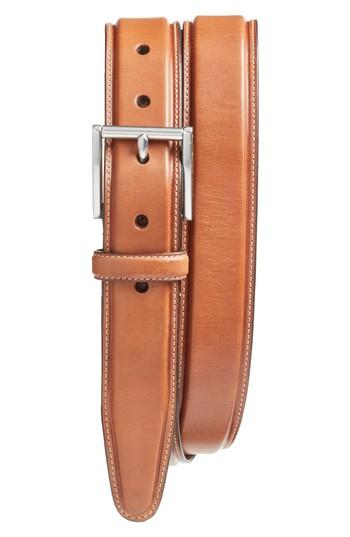 Cole Haan Pressed Edge Leather Belt In Woodbury