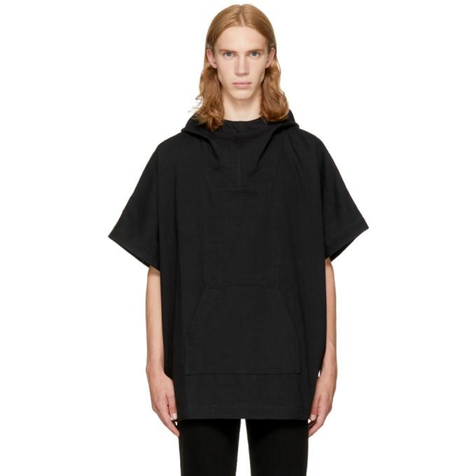 Naked And Famous Black Denim Poncho Hoodie