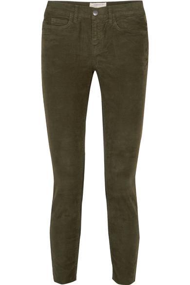 Current Elliott The Stiletto Corduroy Skinny Pants In Green