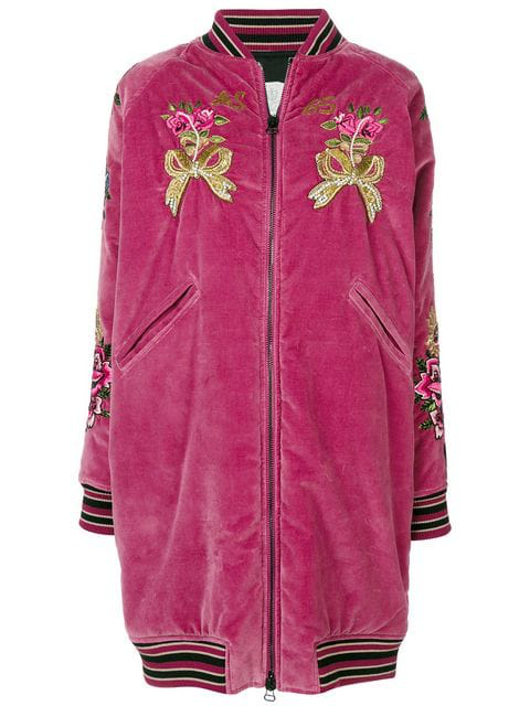 As65 Embroidered Long Bomber Jacket In Pink