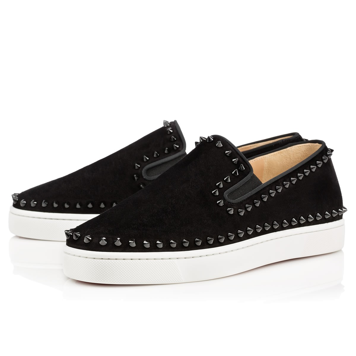 9770317442b Christian Louboutin Roller-Boat Spiked Slip-On Trainers In Black ...