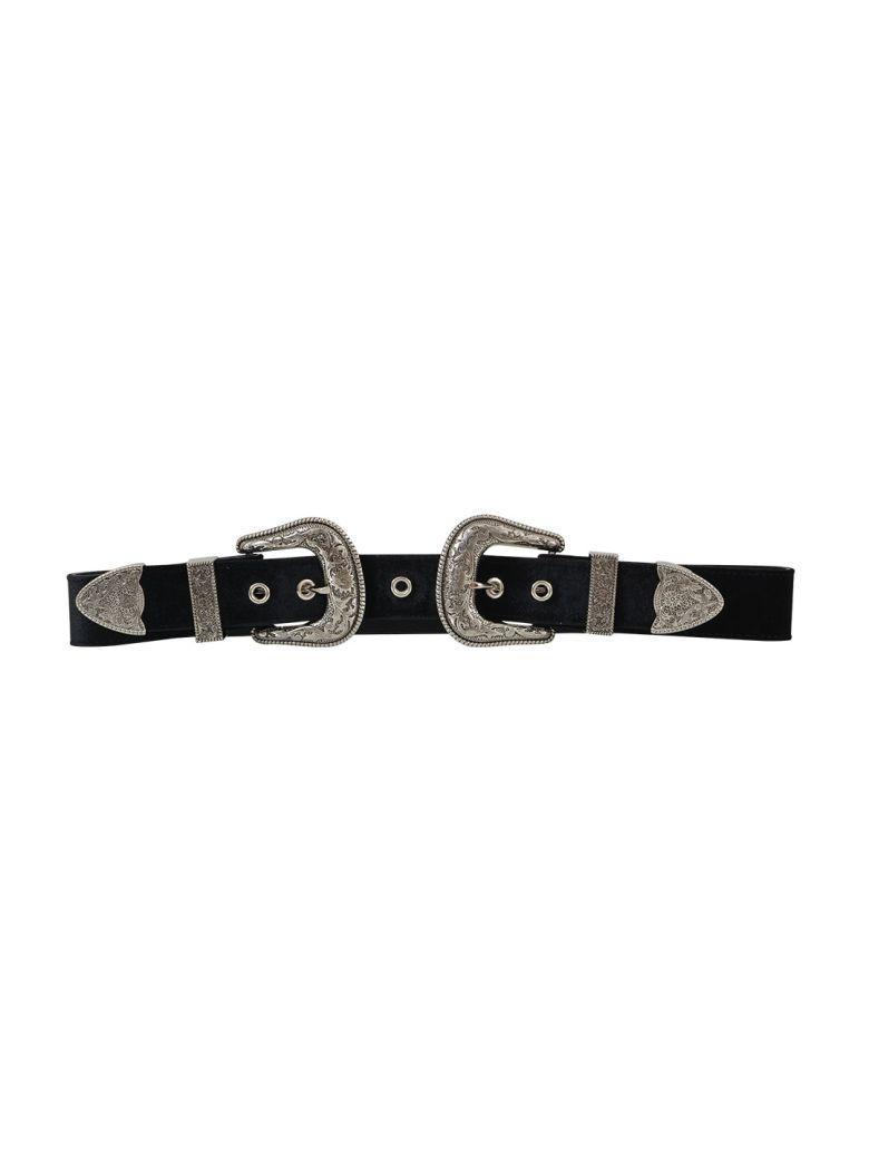 B-low The Belt Double Buckle Belt In Black-silver