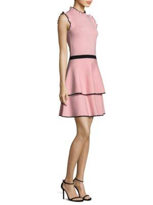 Parker Ryker Mock-neck Sleeveless Fit-and-flare Knit Dress In Pink