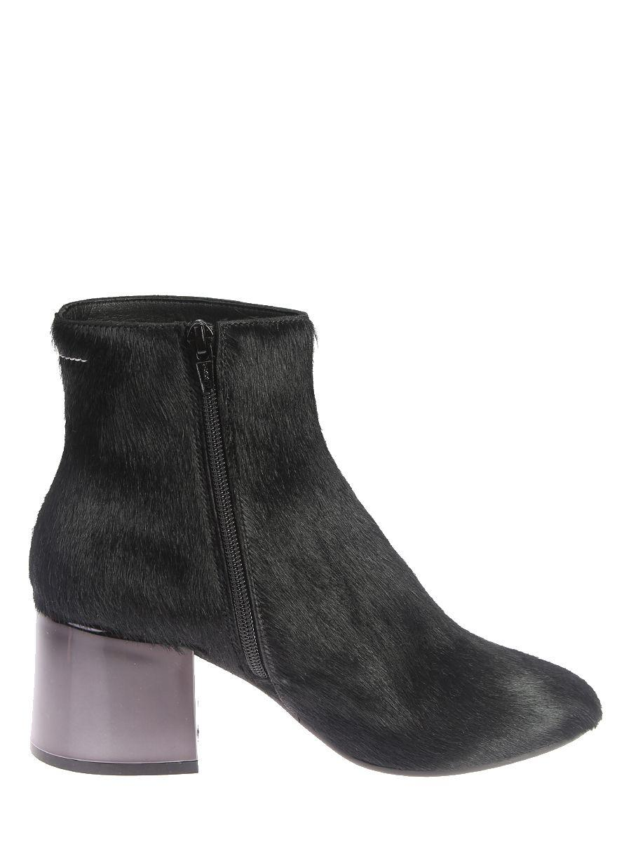 Mm6 Maison Margiela Calf Hair Ankle Boots In Black