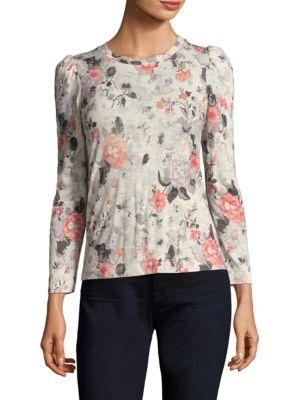 Rebecca Taylor Floral Jersey Top In Cream Combo