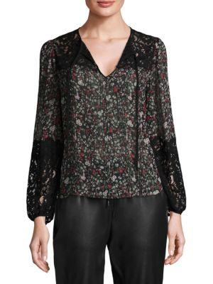 Rebecca Taylor Long-sleeve Floral-print Top W/ Lace Inserts In Black Combo