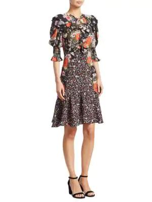 Rebecca Taylor Ruffle-trim Contrast Floral-print Silk Dress In Multi