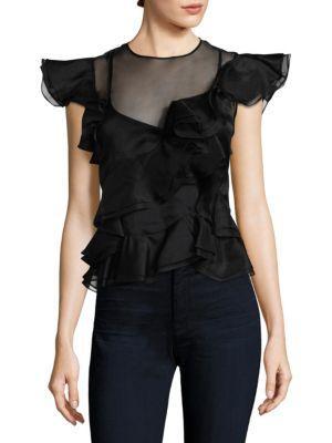 Rebecca Taylor Ruffled Silk Top In Black