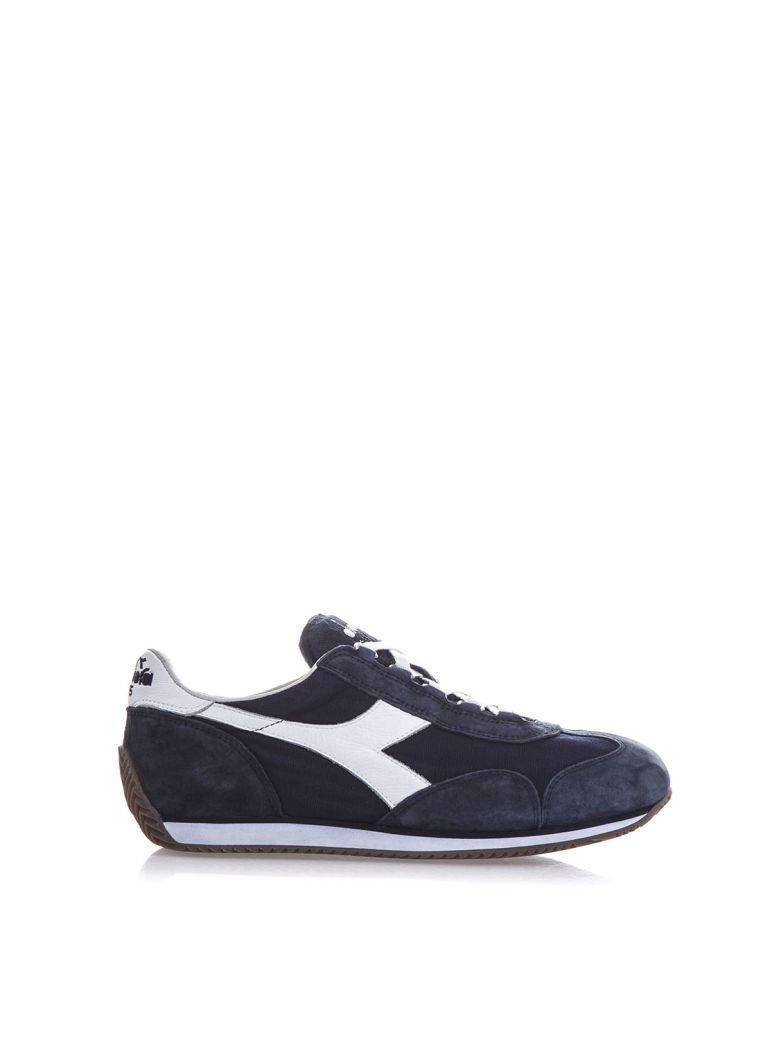 Diadora Equipe Stone Wash Denim & Suede Sneakers In Blue-white