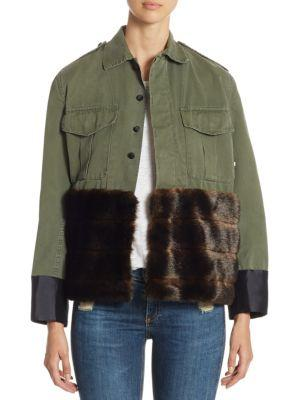Harvey Faircloth Classic Army Jacket With Faux Fur In Green