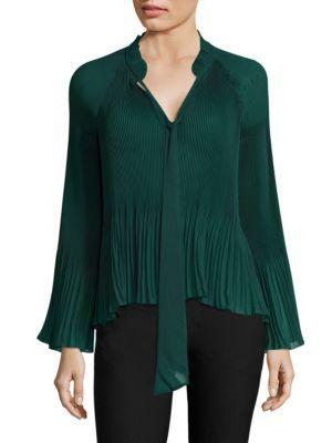 Derek Lam 10 Crosby Long-sleeve Pleated Blouse In Emerald